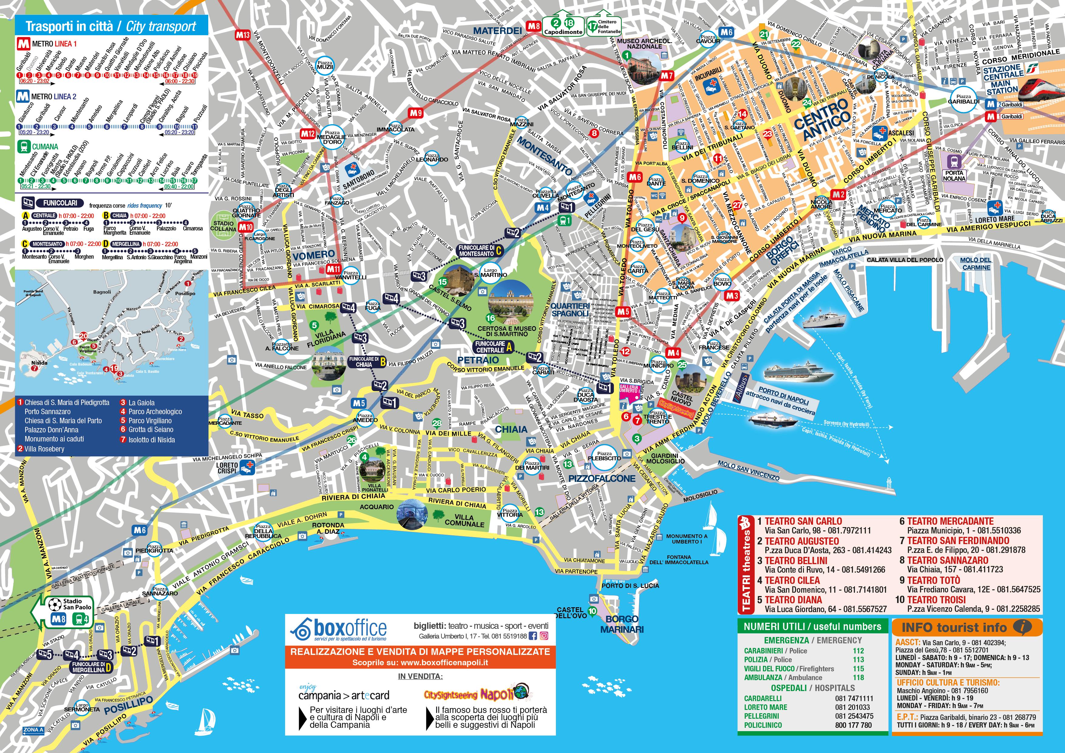 Cartina Monumenti Napoli.Mappa Napoli A4